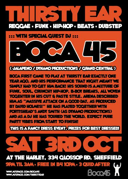 Boca 45 heads to Sheffield for the Thirsty Ear crews regular event at the start of October